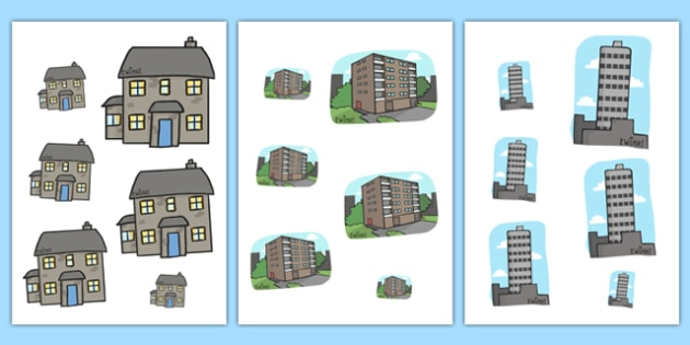 Houses and Homes Size Ordering - houses and homes themed, size ordering worksheet, houses and homes size ordering, order size worksheets