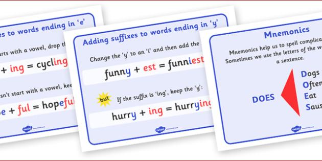 Spelling Strategies Display Posters - spelling, spell, how to spell, display, poster, sign, strategies, strategy, prompt, help, right spelling, tip, suffix, vowel, literacy, KS2