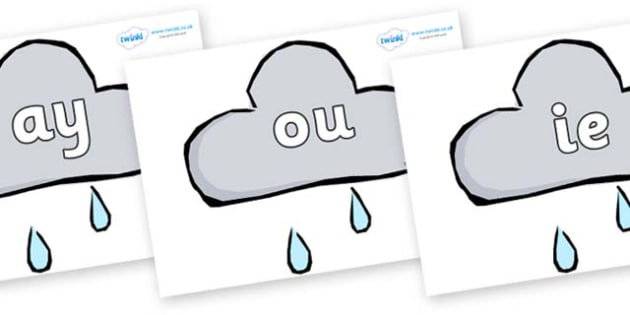 Phase 5 Phonemes on Weather Symbols (Rain) - Phonemes, phoneme, Phase 5, Phase five, Foundation, Literacy, Letters and Sounds, DfES, display
