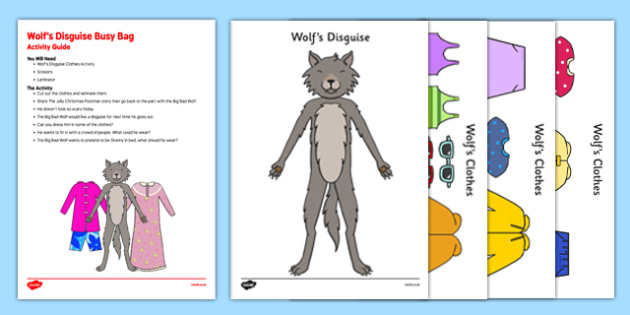 Wolf's Disguise Busy Bag Resource Pack for Parents -EYFS, big bad wolf, wolf, little red riding hood, clothes