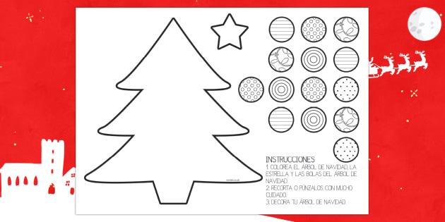 Ficha de motricidad fina..recortar: El árbol de Navidad - navideño, motor, tijeras, punzón, punzar, control motriz, Spanish