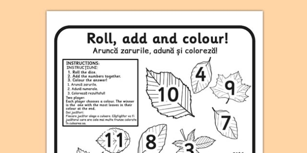 Leaf Roll and Colour Dice Addition Activity Romanian Translation - romanian, leaf, roll, colour, dice, addition