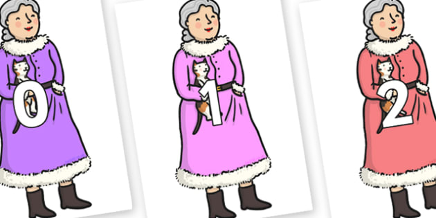 Numbers 0-100 on Mrs Clause to Support Teaching on The Jolly Christmas Postman - 0-100, foundation stage numeracy, Number recognition, Number flashcards, counting, number frieze, Display numbers, number posters
