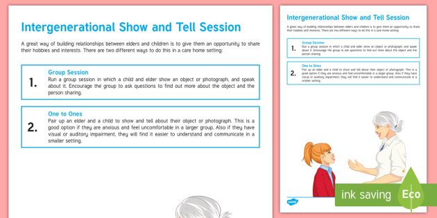 Intergenerational Show and Tell Session Teaching Ideas - Intergenerational Ideas, Show and Tell, Exchange, Discussion, Ideas, Learning, Community, Children,