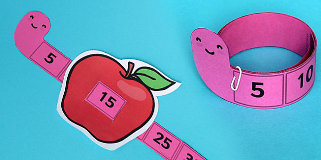 Worm and Apple Counting Up in 5 Strip - worm, apple, counting