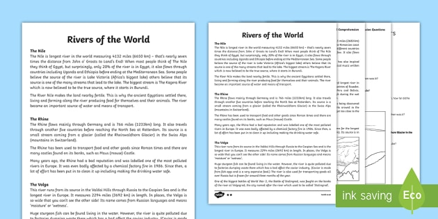Rivers of the World Reading Comprehension Activity - river, countries