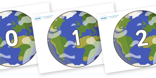 Numbers 0-100 on Planet Earth - 0-100, foundation stage numeracy, Number recognition, Number flashcards, counting, number frieze, Display numbers, number posters