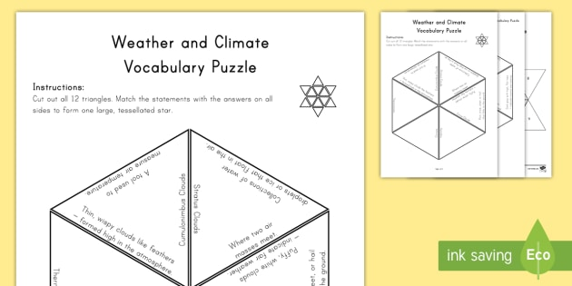 Weather and Climate Vocabulary Puzzle Vocabulary Puzzle - Science Vocabulary Puzzles, climate, heat, thermometer, weather, clouds