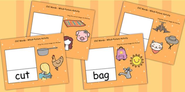 CVC Words Which Picture Activity For IWB - CVC words, IWB, CVC