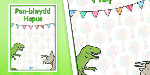 Welsh Happy Birthday Posters Dinosaur Themed - celebrate, birth