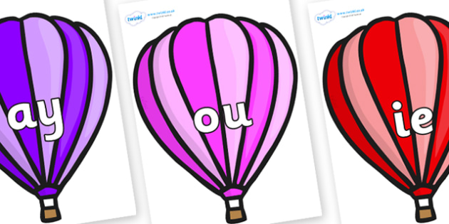 Phase 5 Phonemes on Hot Air Balloons (Stripes) - Phonemes, phoneme, Phase 5, Phase five, Foundation, Literacy, Letters and Sounds, DfES, display