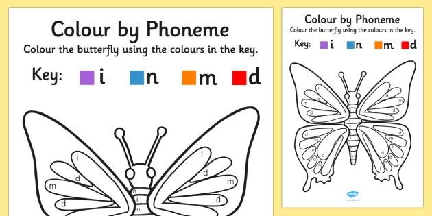 Colour by Phoneme Butterfly Phase 2 i, n, m, d - colour, phase 2