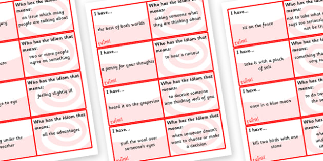 Idiom Loop Cards - idiom, idioms, idiom cards, idiom activity, idiom game, literacy games, ks2 idiom activity, ks2 worksheets, idiom meaning, words