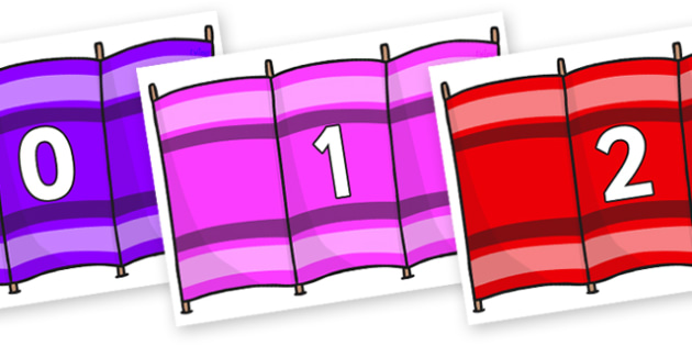Numbers 0-31 on Windbreakers - 0-31, foundation stage numeracy, Number recognition, Number flashcards, counting, number frieze, Display numbers, number posters