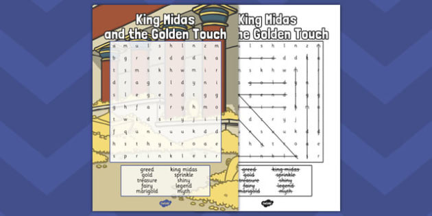 King Midas Differentiated Wordsearch - king, midas, wordsearch