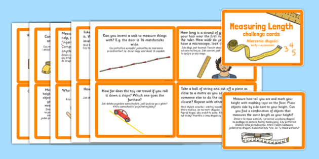 Measuring Length Challenge Cards Polish Translation - polish, measuring, length, challenge