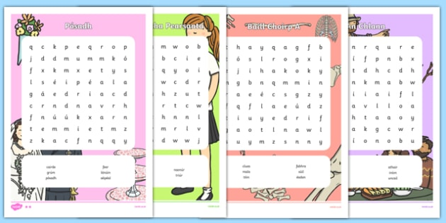 Irish Meacute Feacutein Pack Word Search - irish, gaeilge, meacute feacutein, pack, word search
