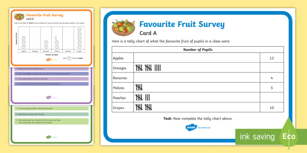 Favourite Fruits Survey Tally and Pictogram Maths Challenge Cards