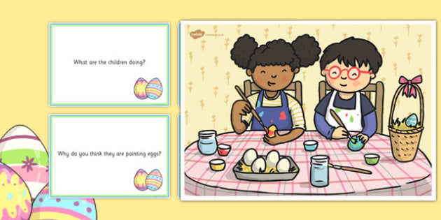 Egg Painting Scene and Question Cards - egg painting, Easter, questions, comprehension pack