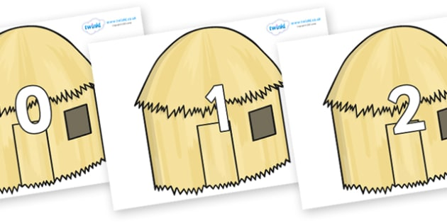 Numbers 0-50 on Straw houses - 0-50, foundation stage numeracy, Number recognition, Number flashcards, counting, number frieze, Display numbers, number posters
