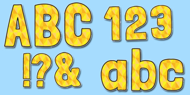 Yellow Geometric Diamond Pattern Themed Funky Display Lettering - display lettering, display, lettering, funky
