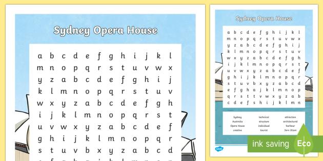 Sydney Opera House Word Search-Australia - Sydney Australia, sydney, australia, opera house, sydney opera house, landmark, famous, fun, activit