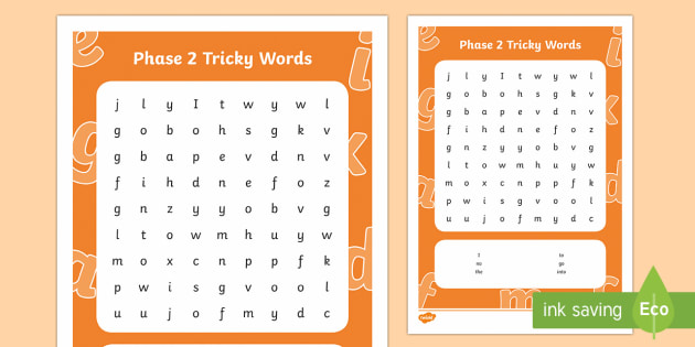 Phase 2 Tricky Words Word Search