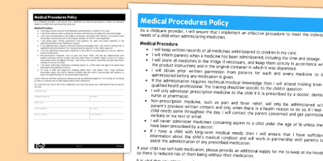 Childminder Medical Procedures Policy - child minder, carer