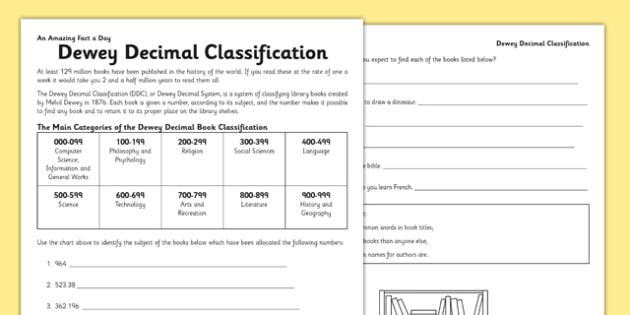 Dewey Decimal Code Activity Sheet - dewey decimal code, book, classification, library, worksheet