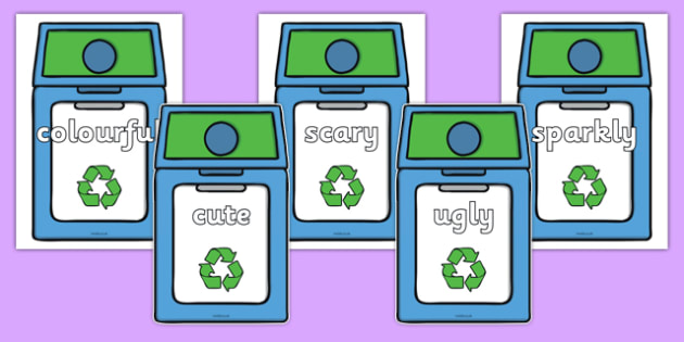 Wow Words on Eco Bins - wow words, eco bins, eco, bins, wow, words, display, display words