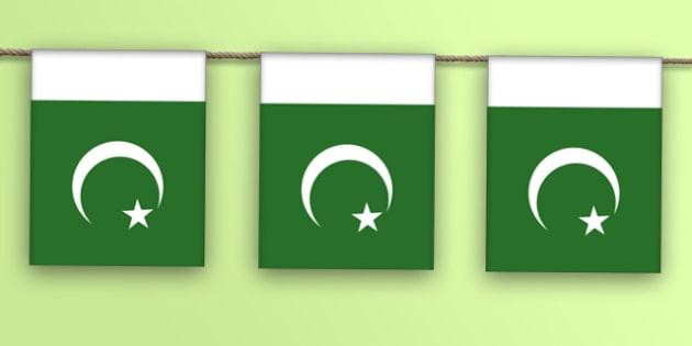 Pakistan Flag Display Bunting - countries, geography, display
