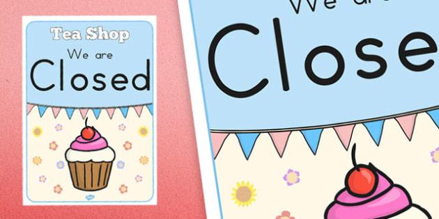 Tea Shop Role Play Closed Sign - australia, tea shop, role-play, closed sign