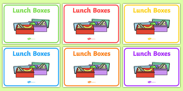 Lunch Boxes Display Signs - Lunch box, label, sign, display poster, snack time, lunch time, snack display, fruit, water, snack area, snack, snacks, fruit time, apple, orange, banana, pear, tomato