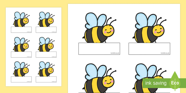 Editable Busy Bee Name Cut-Outs