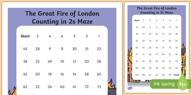 The Great Fire of London Counting in 2s Maze Activity Sheet, worksheet