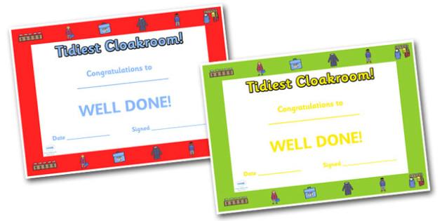 Editable Tidiest Cloakroom Award Certificate - Tidy, Tidy Cloakroom, award, scroll, reward, award, certificate, medal, rewards, school reward
