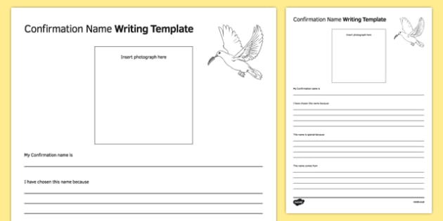 Confirmation Name Writing Template - irish, gaeilge, Religion, Confirmation, name, writing, template