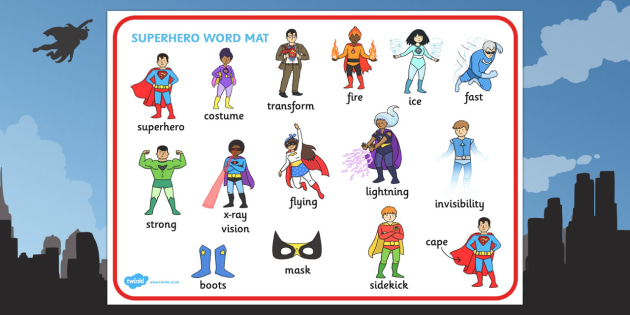Superhero Word Mat - Superheroes, word mat, mat, writing aid, Superhero, superheroes, hero, batman, superman, spiderman, special, power, powers, catwoman, liono, he-man