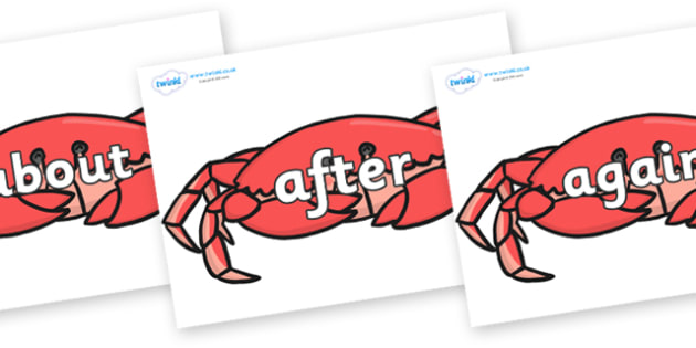 KS1 Keywords on Crabs - KS1, CLL, Communication language and literacy, Display, Key words, high frequency words, foundation stage literacy, DfES Letters and Sounds, Letters and Sounds, spelling