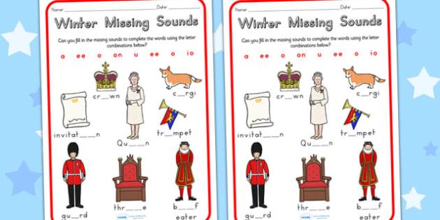 Royal Family Missing Sounds Worksheet - royality, queen elizabeth