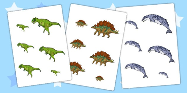 Realistic Dinosaurs Themed Size Ordering - dinosaur, size order