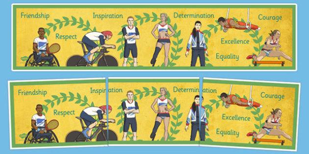 Olympics and Paralympics Values Display Banner - olympics, rio, 2016, value, values, behaviour, aspiration, games, summer, display, banner, heading