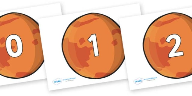 Numbers 0-31 on Mars - 0-31, foundation stage numeracy, Number recognition, Number flashcards, counting, number frieze, Display numbers, number posters