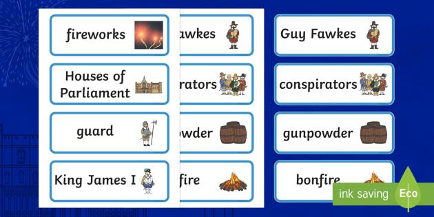 The Gunpowder Plot Topic Word Cards - Story, Bonfire night, word card, flashcards, Guy Fawkes, bonfire, Houses of Parliament, plot, treason, fireworks, Catholic, Protestant, James I