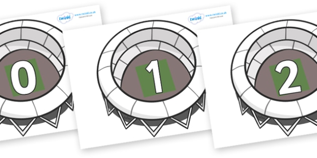 Numbers 0-31 on Stadiums - 0-31, foundation stage numeracy, Number recognition, Number flashcards, counting, number frieze, Display numbers, number posters