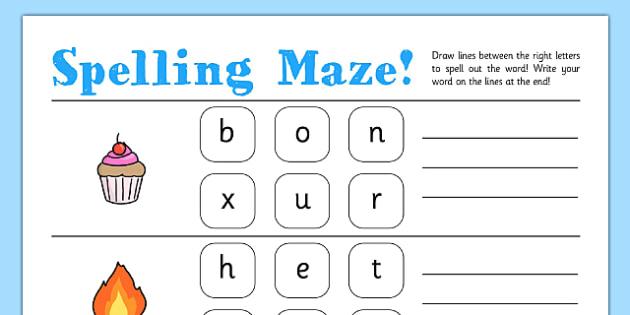 CVC Spelling Maze Worksheets - maze, spelling, worksheets, cvc