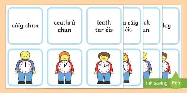 Telling the Time on Building Brick Men Matching Gaeilge/Gaeilge Uladh  Flashcards - An t-am, am, the time, cluiche, cártaí, meaitseáil, cluiche meaitseála,ag tógáil, flash cards,