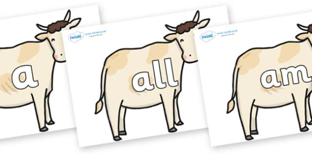 Foundation Stage 2 Keywords on Cows - FS2, CLL, keywords, Communication language and literacy,  Display, Key words, high frequency words, foundation stage literacy, DfES Letters and Sounds, Letters and Sounds, spelling