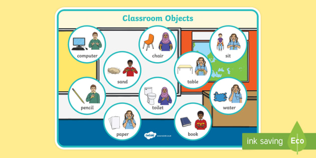 BSL Classroom Objects Word Mat
