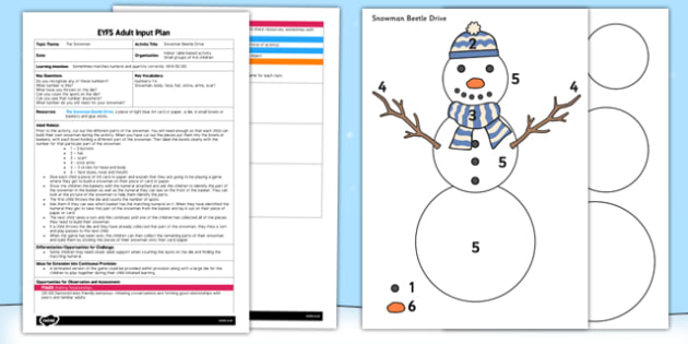 Snowman Beetle Drive EYFS Adult Input Plan and Resource Pack - EYFS, Early Years, planning, Christmas,Raymond Briggs, The snowman, winter, maths, number, snow